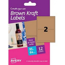 Avery - A6 Brown Kraft Labels HBK02 (rectangular 2x)