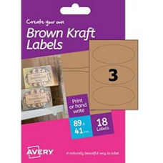 Avery - A6 Brown Kraft Labels HBK03 (oval 3x)